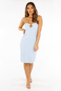 Plunge Bra Cup Bodycon Dress In Light Blue