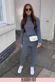 Charcoal Knitted Longline Jumper & Leggings Set