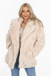 Luxe Beige Chunky Faux Fur Coat