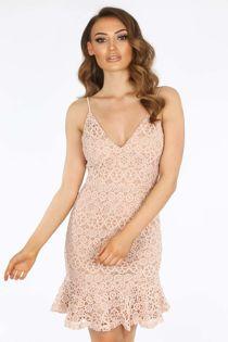 Pink Contrast Crochet Frill Hem Mini Dress