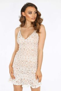 White Contrast Crochet Frill Hem Mini Dress