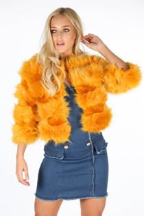 Cropped Super Soft Faux Fur Jacket In Mustard