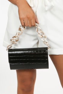 Black Acrylic Chain Handle Bag