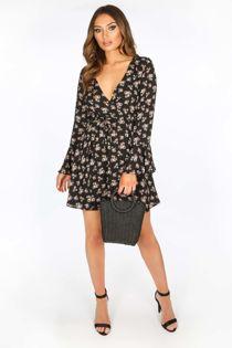 Black Floral Print Wrap Look Mini Dress