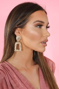 Gold Chunky Textured Square Drop Earrings