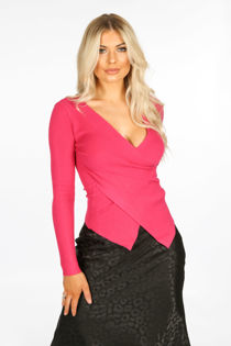 Fuchsia Cross-Front Ribbed Jumper