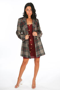 Grey Check Double Breasted Wool Coat