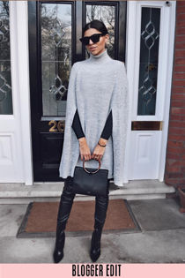 Grey Knitted Poncho Dress