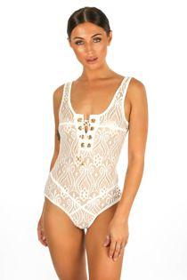 5a2f66fb2 White Lace Up Contrast Lace Bodysuit