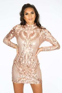 Luxe Long Sleeve Sequin Mini Dress Pink