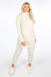 Beige Knitted Longline Jumper & Leggings Set