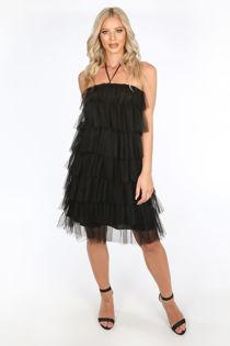 Black Layered Tulle Halter Neck Dress