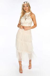Beige Layered Tulle Midi Skirt