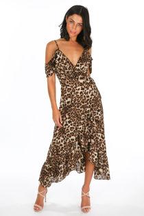 Leopard Print Frill Wrap Midi Dress