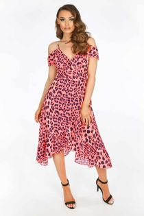 Neon Pink Leopard Print Cold Shoulder Wrap Dress