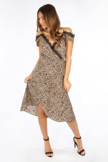 Taupe Leopard Print Wrap Dress With Lace Trim