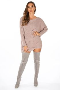 Pink Oversized Jumper Dress With Scallop Hem