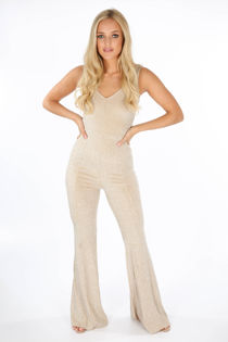Lurex Flare Jumpsuit In Gold