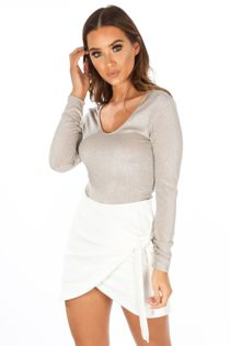 Lurex Long Sleeve Bodysuit In Nude