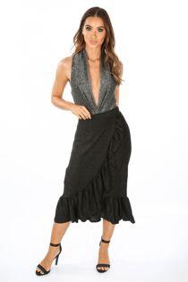 Lurex Frill Midi Skirt In Black