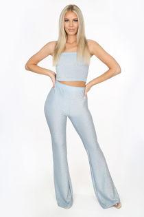 Powder Blue Lurex Glitter Flare Trousers