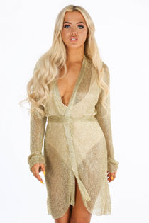 Metallic Knit Wrap Dress In Gold