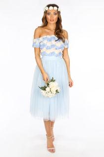 Midi Tulle Skirt In Blue