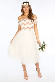Midi Tulle Skirt In Cream
