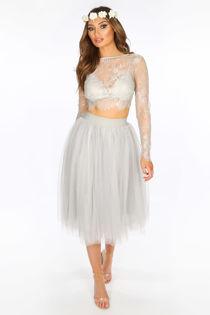 Midi Tulle Skirt In Grey