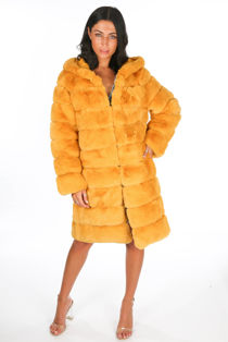 Mustard Long Faux Fur Coat With Hood