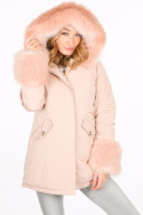 Faux Fur Trim Parka With Cuffs In Pink