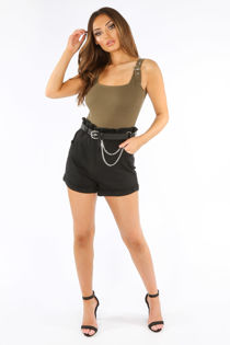 Black Paperbag Denim Shorts