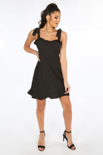 Black Pinafore Dress With Frill Hem