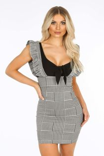 Dogtooth Check Frilled Pinafore Dress