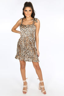 Brown Leopard Print Pinafore Dress With Frill Hem