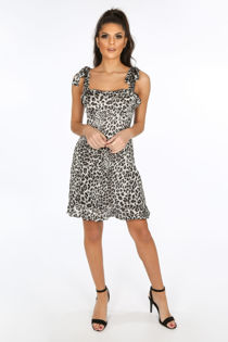 Grey Leopard Print Pinafore Dress With Frill Hem