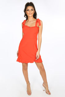 Red Pinafore Dress With Frill Hem