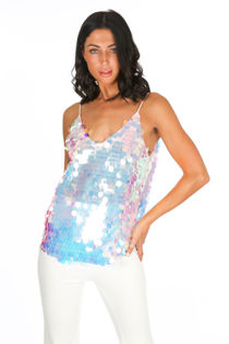 Pink Iridescent Sequin Cami Top