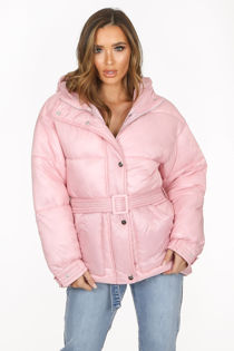 Pink Quilted Belted Puffer Jacket