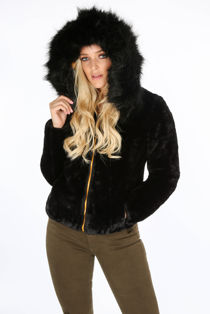 Mustard Reversable Puffer Faux Fur Jacket