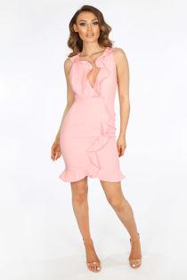 Pink Ruffle Plunge Front Mini Dress