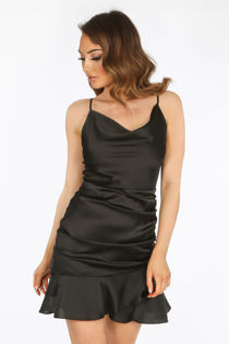 Black Satin Cowl Neck Mini Ruched Dress