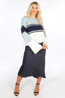 Navy Satin Bias Midi Skirt