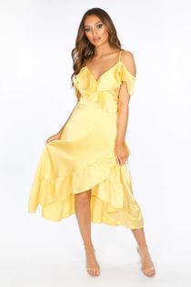 Yellow Cold Shoulder Satin Midi Wrap Dress