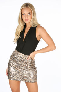 Metallic Snake Print A-Line Mini Skirt