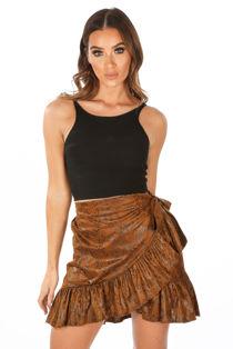 Tan Snake Print Wrap Mini Skirt
