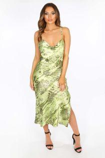 Green Satin Snake Print Cowl Neck Midi Dress