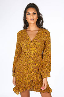 Mustard Long Sleeve Spotted Print Wrap Dress