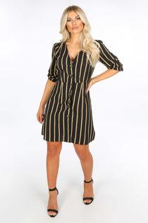 Black Striped Print Mini Dress With Button Detail