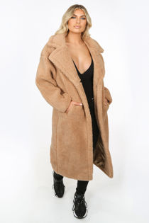 Longline Beige Borg Teddy Coat